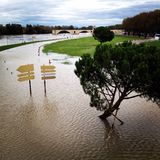 Flooded river bank. Bank of Rhone river overflowing with the saint Benezet bridge in the background. Avignon France Stock Photos