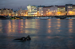 Flooded river bank of Vltava river in the centre of Praque, Czech Republic Stock Photography