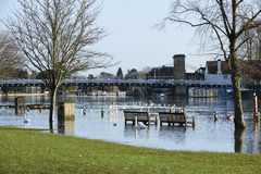 Flooded River. View of Marlow Bridge and flooded Thames river with circa 2014 royalty free stock image