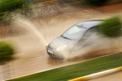 Flooded road Royalty Free Stock Photo