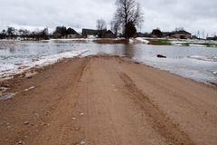 Flooded Road. In spring river flood stock photo