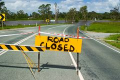 Flooded Road. In South East Queensland, Australia stock photography