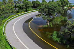 Flooded road. Flooded the motorway road in thailand Royalty Free Stock Images