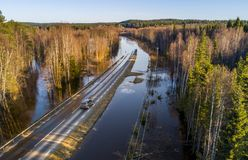 Flooded road. Aerial view danger royalty free stock image