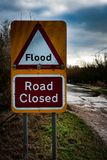 Flooded Road Closed Sign Royalty Free Stock Photography