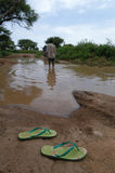 Flooded Road in Darfur Stock Images