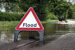 Flooded road in essex Royalty Free Stock Images