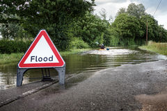 Flooded road in essex Royalty Free Stock Photos