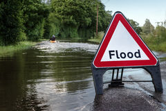 Flooded road in essex Stock Images