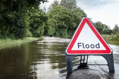 Flooded road in essex Royalty Free Stock Photography