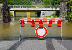 Flooded road in Germany Stock Images