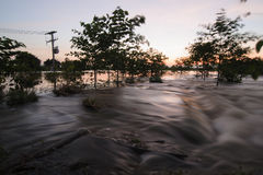 Flooded road after heavy rain Stock Image