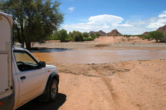 Flooded Road. Namibia Stock Image