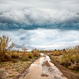 Flooded road in prairie and dramatic sky Royalty Free Stock Images