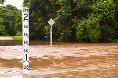 Flooded road in Queensland, Australia Royalty Free Stock Photos