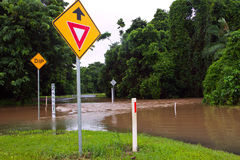 Flooded road in Queensland, Australia Stock Photography
