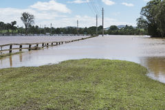 Flooded road Queensland March 2017 Stock Photo