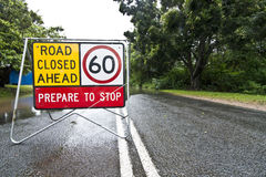 Flooded road with sign Royalty Free Stock Photo