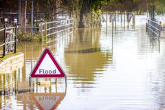 Flooded Road and Sign Stock Image