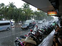 Flooded roads, Pattaya Stock Photo