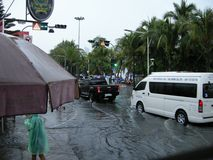 Flooded roads, Pattaya Royalty Free Stock Images