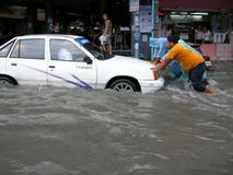 Flooded roads, Pattaya Royalty Free Stock Photos