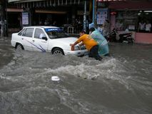 Flooded roads, Pattaya Royalty Free Stock Photo