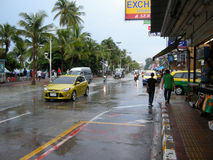 Flooded roads, Pattaya Royalty Free Stock Photography