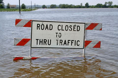 Flooded Roads to Not Travel Royalty Free Stock Image