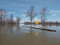 Flooded roadway Royalty Free Stock Photo