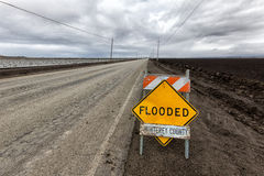 Flooded Roadway Sign Royalty Free Stock Images