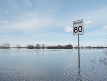 Flooded Roadway Speed Limit Stock Photos