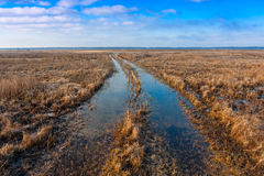 Flooded rut road Royalty Free Stock Images