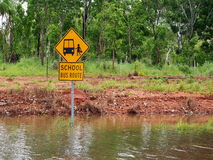Flooded School Bus Route Road Sign Stock Photo