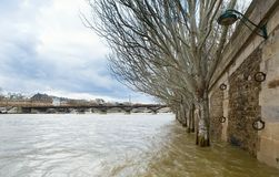 Flooded Seine embankment in Paris Royalty Free Stock Image