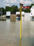 Flooded Small Town Business Street. Coffeyville, Kansas street in a business area under water after a devastating flood and subsequent oil spill in July 2007 Royalty Free Stock Images