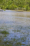 Flooded Soccer Field and Equipment Stock Photo