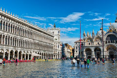 Flooded St. Marks Square In Venice, Italy. Royalty Free Stock Photography