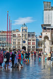 Flooded St. Marks Square in Venice, Italy. Royalty Free Stock Image