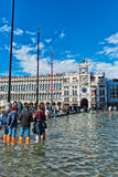 Flooded St. Marks Square in Venice, Italy. Stock Image