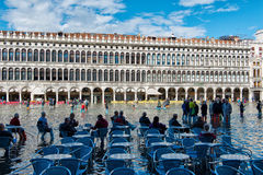 Flooded St. Marks Square in Venice, Italy. Stock Photo