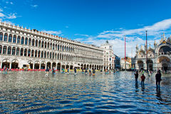 Flooded St. Marks Square in Venice, Italy. Stock Photos
