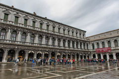 Flooded St. Marks Square in Venice, Italy. Royalty Free Stock Images