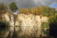 Flooded stone quarry Royalty Free Stock Photos