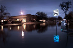 Flooded Street. A flooded street during a storm stock photo