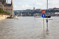Flooded street in Budapest Royalty Free Stock Images
