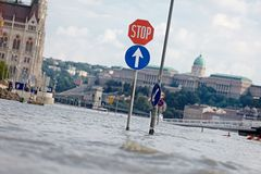 Flooded street in Budapest Stock Photos
