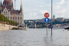 Flooded street in Budapest Royalty Free Stock Image
