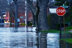 Flooded Street. Of Des Plains City. Spring River Flood. Des Plains, IL, USA. Nature Disasters Photo Collection royalty free stock photos