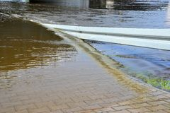 Flooded street during the flood Royalty Free Stock Photography